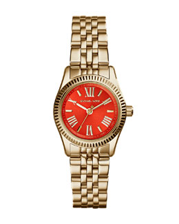Michael Kors  Petite Golden Stainless Steel Lexington Three-Hand Watch