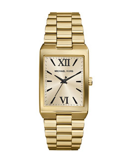 Michael Kors  Mid-Size Golden Stainless Steel Nash Three-Hand Watch