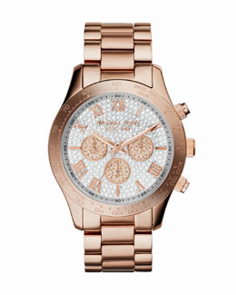 Michael Kors  Mid-Size Rose Golden Stainless Steel Layton Glitz Watch