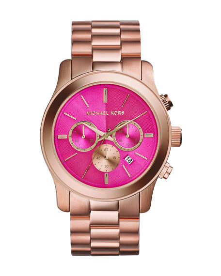 Oversize Rose Golden Stainless Steel Runway Chronograph Watch