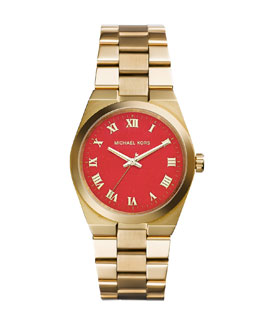 Michael Kors  Mid-Size Golden Stainless Steel Channing Three-Hand Watch