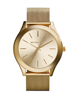 Michael Kors  Mid-Size Golden Stainless Steel Mesh Slim Runway Three-Hand Watch