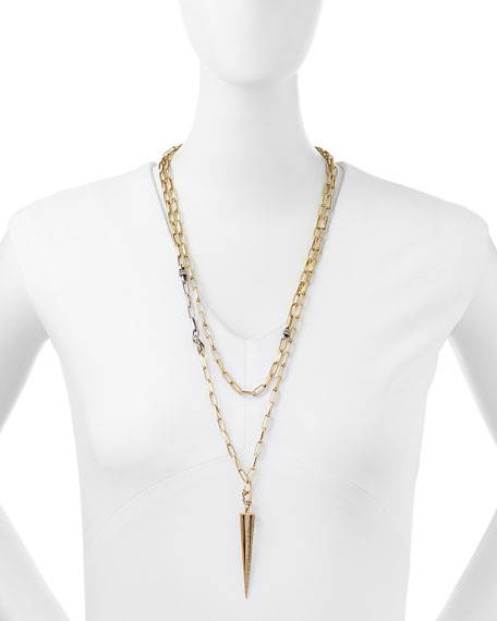 """Gold-Plated Caged Spike Necklace, 30"""""""