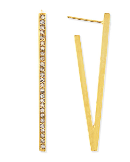 Gold-Plated V Earrings with Crystals