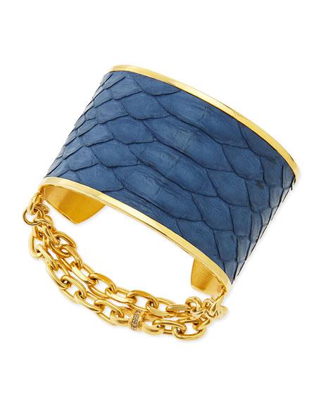 14k Gold Plate & Python Cuff, Blue