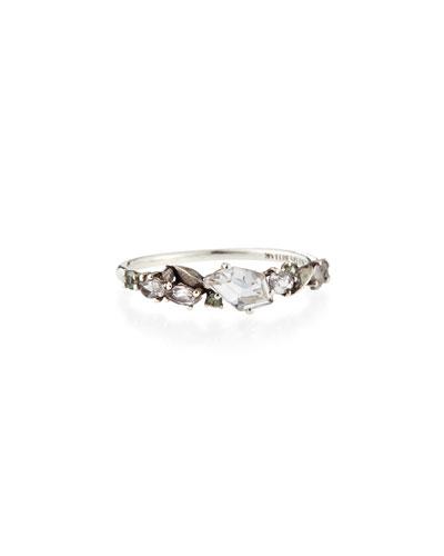 Alexis Bittar Fine Silver Quartz, Green Sapphire & Diamond Cluster Band Ring