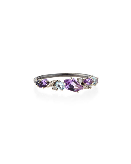 Silver Amethyst, Sapphire & Diamond Cluster Band Ring