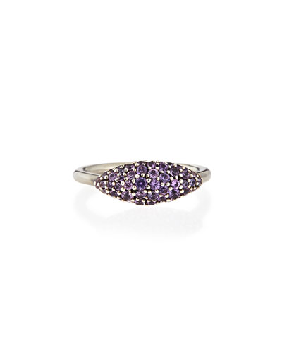 Alexis Bittar Fine Sterling Silver Pave Purple-Gray Sapphire Marquise Ring