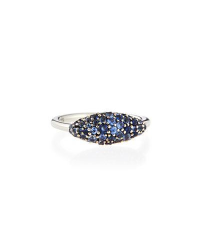 Alexis Bittar Fine Sterling Silver Pave Medium Blue Sapphire Marquise Ring