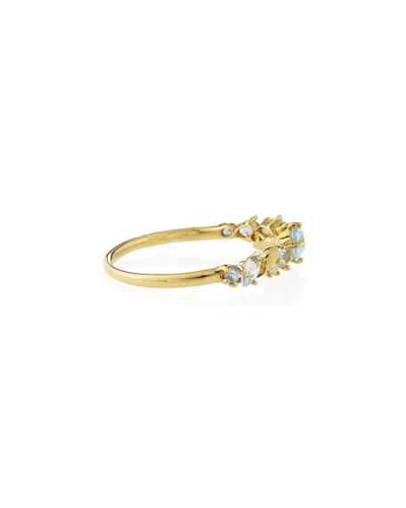 Gold Topaz, Sapphire & Diamond Cluster Band Ring