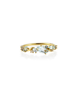 Alexis Bittar Fine Gold Topaz, Sapphire & Diamond Cluster Band Ring