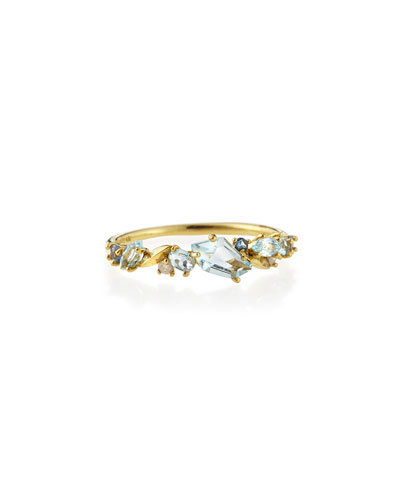Gold Topaz, Sapphire & Diamond Cluster Band Ring