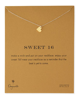 Dogeared Sweet 16 Gold-Dipped Necklace