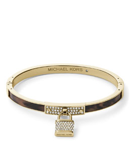 Michael Kors  Pave Padlock Charm Hinge Bangle, Golden/Tortoise