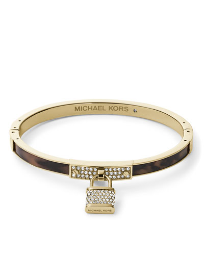 Pave Padlock Charm Hinge Bangle, Golden/Tortoise