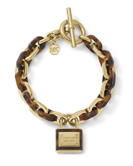 Michael Kors  Padlock Toggle Bracelet, Golden/Tortoise