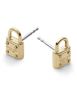 Michael Kors  Padlock Logo Stud Earrings, Golden
