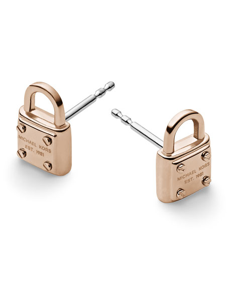Padlock Logo Stud Earrings, Rose Golden