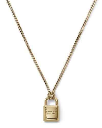 Michael Kors  Delicate Padlock Necklace, Golden