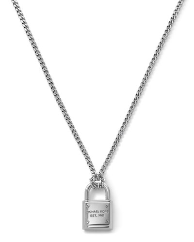 Michael Kors  Delicate Padlock Necklace, Silver Color