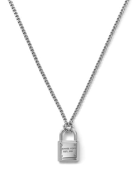 Delicate Padlock Necklace, Silver Color