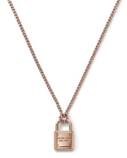 Michael Kors  Delicate Padlock Necklace, Rose Golden