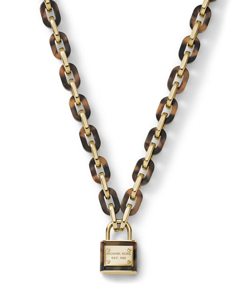 Padlock Link Toggle Necklace, Golden/Tortoise