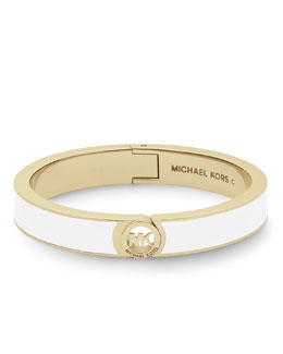 Michael Kors  Fulton Hinge Bangle, White/Golden