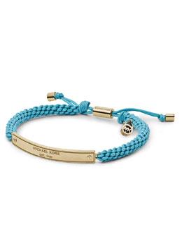 Michael Kors  Macrame Logo-Bar Bracelet, Golden/Turquoise