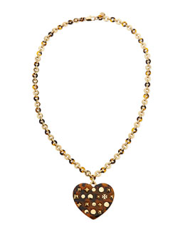 Tory Burch Adeline Tortoise-Heart Pendant Necklace, 30""