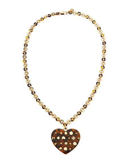Adeline Tortoise-Heart Pendant Necklace, 30""