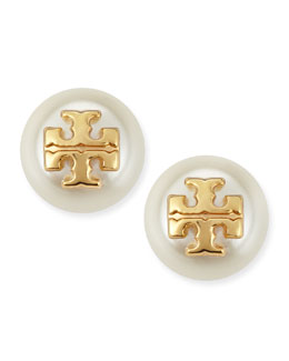 Tory Burch Evie Pearly Logo Stud Earrings, Ivory
