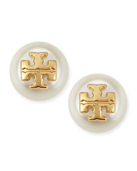 Evie Pearly Logo Stud Earrings, Ivory