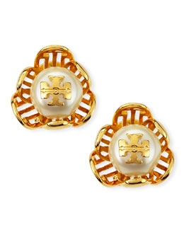 Tory Burch Golden Cara Flower Stud Earrings