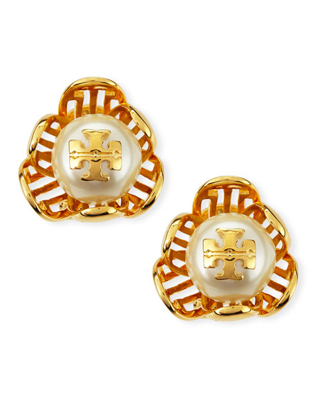 Golden Cara Flower Stud Earrings
