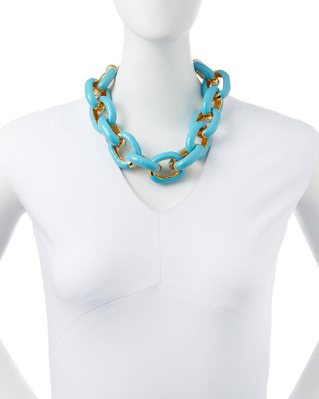 Turquoise Enamel & Gold-Plated Link Necklace