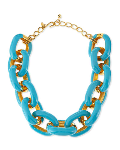 Kenneth Jay Lane Turquoise Enamel & Gold-Plated Link Necklace
