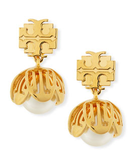 Tory Burch Golden Cara Flower Drop Earrings