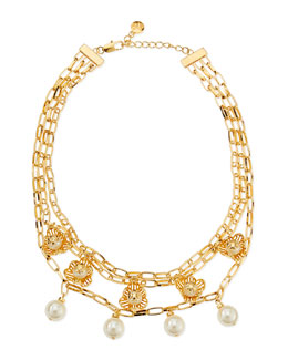 Tory Burch Golden Cara Short Flower Necklace