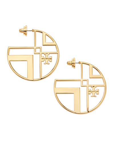 Tory Burch Chevron Cutout Hoop Earrings with Logo