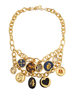 Tory Burch Delora Shiny Charm Necklace