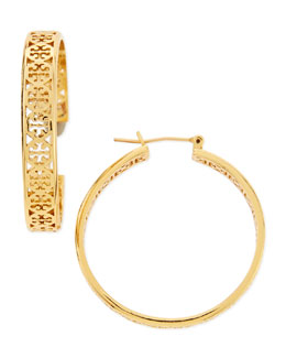 Tory Burch Kinsley Logo Hoop Earrings