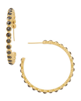 Armenta 18k Gold Sueno Eternity Black Diamond Hoop Earrings
