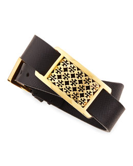 Tory Burch Kinsley Double-Wrap Leather Bracelet, Black
