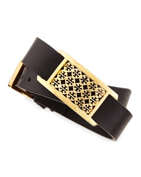 Kinsley Double-Wrap Leather Bracelet, Black