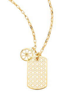 Tory Burch Kinsley Logo Dogtag Necklace, 36""