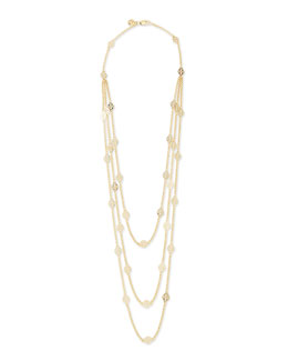 Tory Burch Gold-Plated 3-Strand T-Logo Necklace