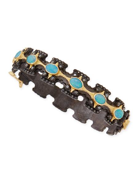 Old World Wide Cross Bracelet with Opals & Diamonds