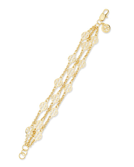 Tory Burch Gold-Plated 3-Strand T-Logo Bracelet