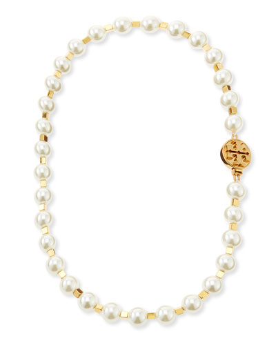 Tory Burch Tilde Short Pearly Necklace, Ivory